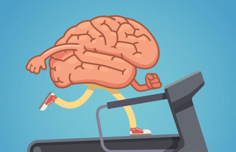 brain exercising on treadmill graphic